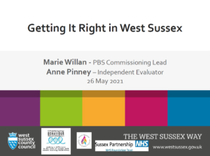 Title slide from presentation for Workshop 6: Getting It Right in West Sussex, CB-NSG May 2021