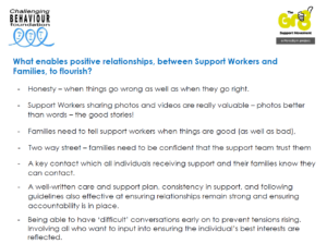 First slide from presentation from Workshop 9: Summary of 'Support worker and family workshop' CB-NSG, May 2021